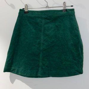 Forever 21 Corduroy Green Mini Skirt